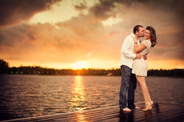 Sunset Engagement Photo in Honey Harbour