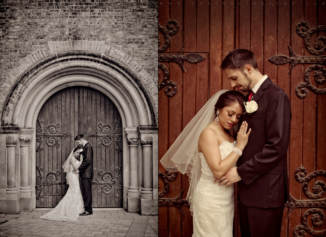 couple kissing, wedding day, wedding photos at university of toronto